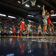 HARTFORD, CONNECTICUT- DECEMBER 19: Kelsey Mitchell #3 of the Ohio State Buckeyes drives to the basket defended by Gabby Williams #15 of the Connecticut Huskies during the UConn Huskies Vs Ohio State Buckeyes, NCAA Women's Basketball game on December 19th, 2016 at the XL Center, Hartford, Connecticut (Photo by Tim Clayton/Corbis via Getty Images)