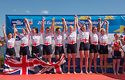Brandenburg. GERMANY. GBR W8+ on the awards dock at the 2016 European Rowing Championships at the Regattastrecke Beetzsee<br /> <br /> Sunday  08/05/2016<br /> <br /> [Mandatory Credit; Peter SPURRIER/Intersport-images]