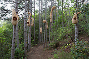 The artwork entitled 'Nids' (nests) by Danish artists Jette Mellgren & jan Johansen, on the sculpture park trail, on 22nd May, 2017, in Mayronnes sculpture park, Languedoc-Rousillon, south of France