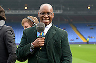 BT sport pundit and Crystal Palace legend Ian Wright poses as he smiles at the camera before k/o..Barclays Premier League match, Crystal Palace v West Bromwich Albion at Selhurst Park in London on Saturday 3rd October 2015.<br /> pic by John Patrick Fletcher, Andrew Orchard sports photography.