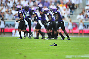 FORT WORTH, TX - SEPTEMBER 13:  A player lost a Nike shoe while the TCU Horned Frogs face the Minnesota Golden Gophers on September 13, 2014 at Amon G. Carter Stadium in Fort Worth, Texas.  (Photo by Cooper Neill/Getty Images) *** Local Caption ***