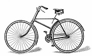 Singer's special Safety Bicycle (c1886). Chain-driven machine introducing the diamond frame which gave greater rigidity in spite of lightness. Wood engraving 1890.