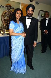 DR KARTAR LALVANI & MRS LALVANI at the charity Vanishing Herd Foundation - Conservation Ball held at the Radison Hotel, Portman Square, London on 13th November 2004.<br /><br />NON EXCLUSIVE - WORLD RIGHTS