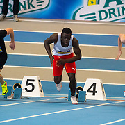 NLD/Apeldoorn/20180217 - NK Indoor Athletiek 2018, 60 meter heren, Stefan Scholte, Elvis Afrifa en Gabriël Cornelissen