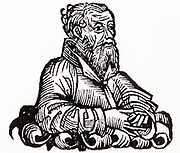 Strabo (64/63BC-c21AD) Greek historian, geographer and philosopher.   Woodcut from 'Liber chronicarum mundi' (Nuremberg Chronicle) by Harmann Schedel (Nuremberg, 1493).