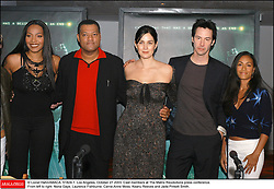 © Lionel Hahn/ABACA. 51824-1. Los Angeles, October 27 2003. Cast members at The Matrix Revolutions press conference. From left to right: Nona Gaye, Laurence Fishburne, Carrie-Anne Moss, Keanu Reeves and Jada Pinkett Smith.  Fishburne Laurence Fishburne Lawrence Fishburne Laurence Fishburne Lawrence Gaye Nona M. Gaye Nona M. Matrix Revolutions Matrix 3 The Matrix Revolutions Moss Carrie-Anne Moss Carrie-Anne Pinkett Jada Pinkett Smith Jada Pinkett Jada Pinkett Smith Jada Reeves Keanu Reeves Keanu Conference de presse Press Conference Groupe Reunion Reunion Los Angeles USA United States of America Vereinigte Staaten von Amerika Etats-Unis Etats Unis Horizontal Landscape Plan americain Half length  | 51824_01