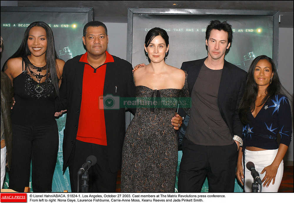 © Lionel Hahn/ABACA. 51824-1. Los Angeles, October 27 2003. Cast members at The Matrix Revolutions press conference. From left to right: Nona Gaye, Laurence Fishburne, Carrie-Anne Moss, Keanu Reeves and Jada Pinkett Smith.  Fishburne Laurence Fishburne Lawrence Fishburne Laurence Fishburne Lawrence Gaye Nona M. Gaye Nona M. Matrix Revolutions Matrix 3 The Matrix Revolutions Moss Carrie-Anne Moss Carrie-Anne Pinkett Jada Pinkett Smith Jada Pinkett Jada Pinkett Smith Jada Reeves Keanu Reeves Keanu Conference de presse Press Conference Groupe Reunion Reunion Los Angeles USA United States of America Vereinigte Staaten von Amerika Etats-Unis Etats Unis Horizontal Landscape Plan americain Half length    51824_01