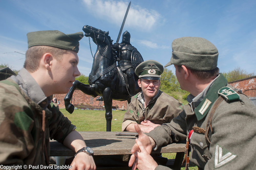 Reenactors of the NWW2A Portraying Panzer Grenadiers of the Großdeutschland during a 1940s wartime weekend at Fort Paull on Bank Holiday Monday ..5 May 2013.Image © Paul David Drabble