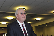 Nassau County Legislature, controlled by Republicans, votes along party lines to consolidate 8 police precincts into 4, on Monday, March 5, 2012, at Mineola, New York, USA. Thomas Dale shown being confirmed as Nassau County Police Commissioner earlier that meeting.