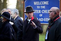 Sir Bobby Charlton (centre) during the funeral service for Gordon Banks at Stoke Minster.