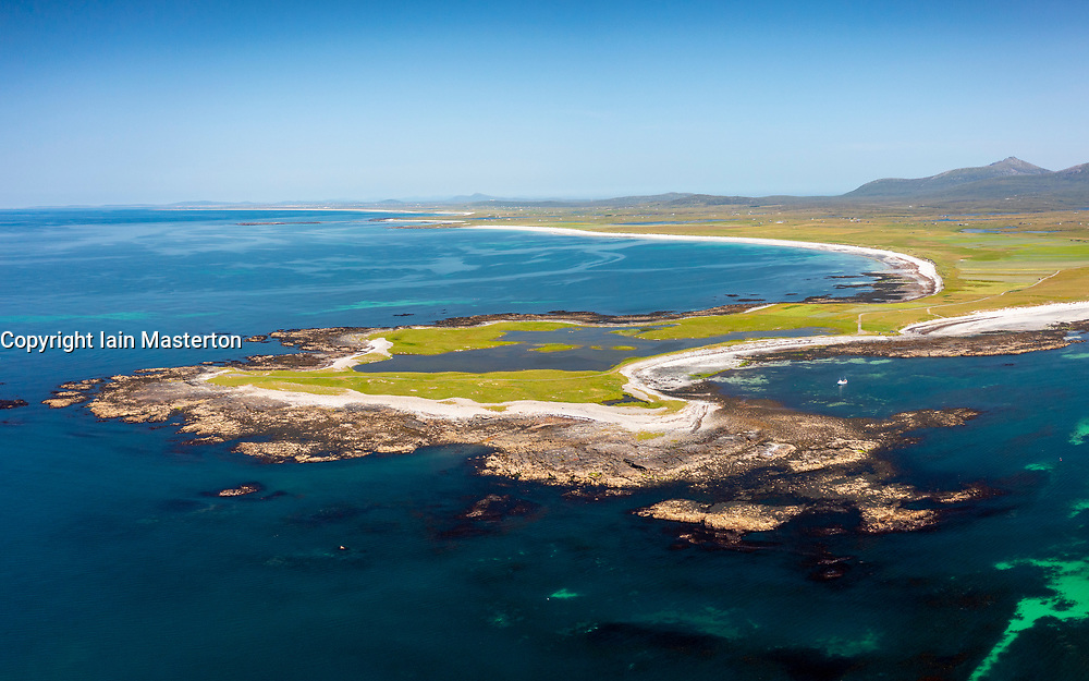 Aerial view from drone of the most westerly point in the Outer Hebrides at Rubha Ardvule headland on South Uist, Outer Hebrides, Scotland, UK