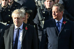 © Licensed to London News Pictures. 10/11/2019. London, UK. Prime Minister, Boris Johnson, former Prime Ministers David Cameron and Theresa May attend the Remembrance Sunday ceremony at the Cenotaph memorial in Whitehall, central London. Remembrance Sunday is held each year to commemorate the service men and women who fought in past military conflicts. Photo credit: Dinendra Haria/LNP