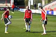 Accrington Stanley warm up before the EFL Sky Bet League 1 match between Fleetwood Town and Accrington Stanley at the Highbury Stadium, Fleetwood, England on 27 February 2021.