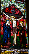 Stained glass window Weybread church, Suffolk, England, UK detail c 1864 by O'Connor Jesus Christ Crucifixion