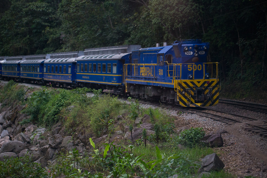 A train is the chosen mode of transportation from Cusco to Machu Picchu.