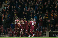 The Bradford players celebrate Tony McMahon's (Bradford City) goal in front of the fans. Bradford open the scoring to make it 1-0 during the Sky Bet League 1 match between Bradford City and Southend United at the Coral Windows Stadium, Bradford, England on 16 February 2016. Photo by Mark P Doherty.