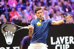 September 22, 2018 - Chicago, Illinois, United States - NOVAK DJOKOVIC in his match v. K. Anderson in the 2018 Laver Cup tennis event in Chicago. (Credit Image: © Christopher Levy/ZUMA Wire)