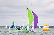Seaview Mermaids with full spinnakers during racing at  Aberdeen Asset Management Cowes Week. <br /> Picture date Tuesday 5th August, 2014.<br /> Picture by Christopher Ison. Contact +447544 044177 chris@christopherison.com