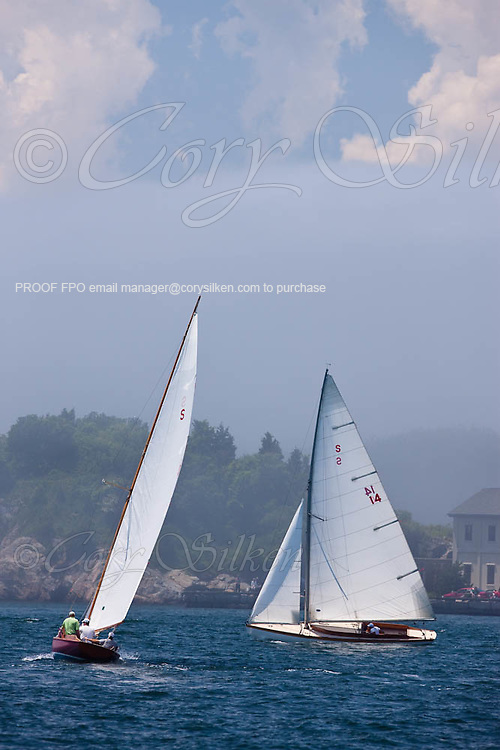 Lady Luck and Wistful, S Class, sailing in the Robert H. Tiedemann Classic Yachting Weekend race 1.