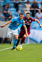 August 1, 2018 - MalmÅ, SVERIGE - 180801 of MalmÅ¡ FF Eric Larsson of MalmÅ¡ FF and Ciprian Deac of Cluj during the UEFA Champions League qualifying match between MalmÅ¡ FF and Cluj on August 1, 2018 in MalmÅ¡..Photo: Mathilda Ahlberg / BILDBYRN / Cop 178  (Credit Image: © Mathilda Ahlberg/Bildbyran via ZUMA Press)