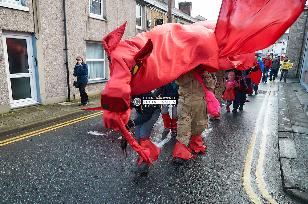 Wylfa B protest incl members of other groups including Welsh Language Society and Greenpeace, along with a Welsh Dragon to highlight and offer support to the family of Caededog farm who are standing firm against attempts to take their land for Wylfa B. Llangefni 21/1/12