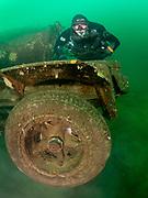 Rebreather diver on the tanker truck wreck at Dutch Springs, Scuba Diving Resort in Pennsylvania