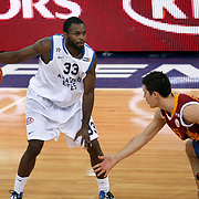 Anadolu Efes's Oliver Lafayette (L) during their Turkish Basketball League match Anadolu Efes between Galatasaray at Abdi Ipekci Arena in Istanbul, Turkey, Wednesday, January 04, 2012. Photo by TURKPIX