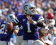 Kansas State quarterback Josh Freeman (1) gets ready to throw down field against Iowa State at Bill Snyder Family Stadium in Manhattan, Kansas, October 28, 2006.  The Wildcats beat the Cyclones 31-10.<br />