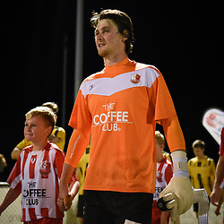 BRISBANE, AUSTRALIA - APRIL 13: Thomas Carroll of Olympic FC walks out during the NPL Queensland Senior Men's Round 4 match between Olympic FC and Moreton Bay Jets at Goodwin Park on April 13, 2017 in Brisbane, Australia. (Photo by Patrick Kearney/Olympic FC)
