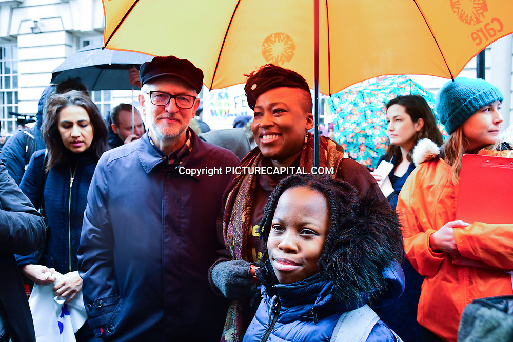 Jeremy Corbyn and Shola Mos-Shogbamimu join March4Women 2020, on 8 March 2020, London, UK