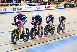 March 1, 2018 - Apeldoorn, Netherlands - Marion Borras, Laurie Berthon, Coralie Demay and Marie le Net of France competes in the Women's Team Pursuit first round during UCI Track Cycling World Championships Apeldoorn 2018  in Apeldoorn, the Netherlands on 1st March 2018. The track cycling worlds take place from 28 February to 04 March. (Credit Image: © Foto Olimpik/NurPhoto via ZUMA Press)