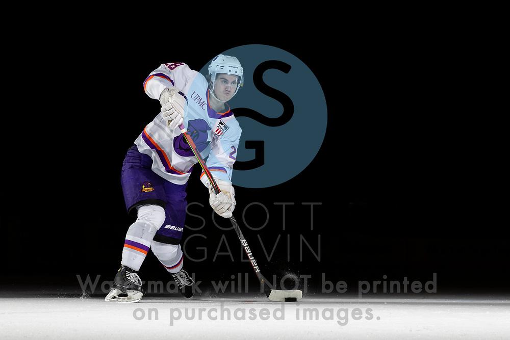 Youngstown Phantoms player photo shoot on April 14, 2021. <br /> <br /> Dylan Gratton, defenseman, 28