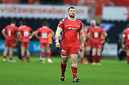 Morgan Allen of the Scarlets looks on. .Guinness Pro12 rugby match, Ospreys v Scarlets at the Liberty Stadium in Swansea, South Wales on Saturday 26th March 2016.<br /> pic by  Andrew Orchard, Andrew Orchard sports photography.