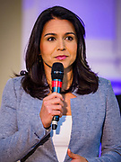 27 APRIL 2019 - STUART, IOWA: US Representative TULSI GABBARD, (D-HI) a candidate for the Democratic nomination for the US presidency, talks to Iowa voters at the Reaching Rural Voters Forum in Stuart. The forum was an outreach by Democrats in Iowa's 3rd Congressional District to mobilize Democratic voters statewide. Iowa saw one of the largest shifts from Democrats to Republicans in the 2016 Presidential election and Trump won the state by double digits. Republicans control the governor's office and both chambers of the Iowa legislature. Iowa traditionally hosts the the first selection event of the presidential election cycle. The Iowa Caucuses will be on Feb. 3, 2020.                                 PHOTO BY JACK KURTZ