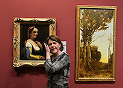 © Licensed to London News Pictures. 04/02/2013. Westminster, UK Culture Secretary Maria Miller unveils A painting by Jean-Baptiste Camille Corot as she unveils exceptional items accepted in lieu from the estate of Lucian Freud at The National Gallery in central London today 4th February 2013.  Photo credit : Stephen Simpson/LNP