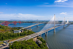 Aerial view of three bridges crossing the River Forth with new Queensferry Crossing in front at North Queensferry, Fife, Scotland, UK