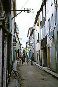 Narrow streets in the village of Quillan, Aude department, France 1973
