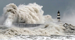 Review of the Year 2017: January: Waves crash into the sea wall at Seaham Harbour as Scotland and the North of England were covered in a blanket of snow while the east coast was braced for a storm surge.
