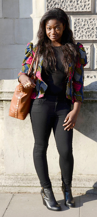 Street fashion at London Fashion Week, February 2013. 19/02/2013 Tabatha Trustam/CatchlightMedia.Wilma Sagoe, style icon: Solange Knowles, twitter: @wilma.sagoe