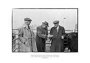 Salesman Richard Kenny watches a bargain being struck between Abbey Thompson and George Walker at the Dublin Cattle Market.<br /> <br /> 25th April 1962<br /> 25/04/1962