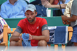April 11, 2018 - Houston, TX, U.S. - HOUSTON, TX - APRIL 11: Ivo Karlovic (CRO) rests between games in his match against Denis Kudla (USA) during the 2018 US Men's Clay Court Tennis Championships on April 11, 2018 at River Oaks Country Club, Houston, Texas. (Photo by Ken Murray/Icon Sportswire) (Credit Image: © Ken Murray/Icon SMI via ZUMA Press)