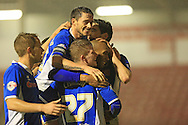 Calvin Andrew goal celebrations during the Sky Bet League 1 match between Walsall and Rochdale at the Banks's Stadium, Walsall, England on 2 January 2016. Photo by Daniel Youngs.