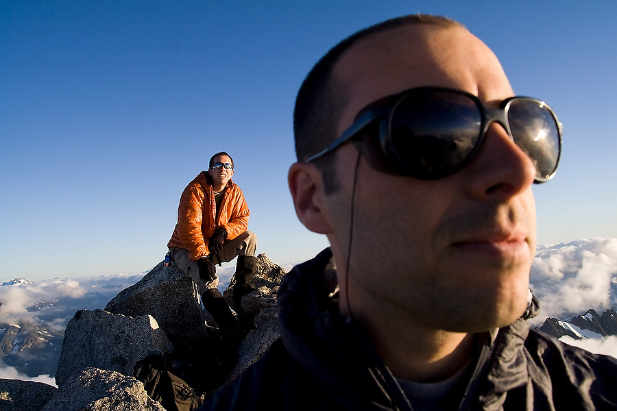 Climbers Jim Prager, right, and Brian Polagye enjoy the views from the top of Eldorado Peak, in the heart of North Cascades National Park, Washington on August 10, 2007.