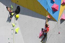 HUAI'AN, Oct. 10, 2018  Indonesia's Sabri (R) competes during the men's lead semifinal at ''The Belt and Road'' International Climbing Master Tournament 2018 in Huai'an City, east China's Jiangsu Province, Oct. 10, 2018. (Credit Image: © Xinhua via ZUMA Wire)
