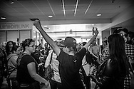 "Black Lives Matter activist Jasmine ""Abdullah"" Richards protests against Ben Shapiro at CSULA."