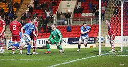 St Johnstone's players after St Johnstone's Thomas Scobbie scored their third goal. <br /> St Johnstone 3 v 4Aberdeen, SPFL Ladbrokes Premiership played 6/2/2016 at McDiarmid Park, Perth.