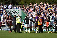 Stewards guard the referee James Linington and his assistants after the Skybet championship match, Yeovil Town v Reading at Huish Park in Yeovil on Saturday 31st August 2013. <br /> Picture by Sophie Elbourn, Andrew Orchard sports photography,