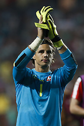 October 10, 2017 - Lisbon, Portugal - Switzerland's goalkeeper Yann Sommer applauds the supporters at the end of the FIFA World Cup WC 2018 football qualifier match between Portugal and Switzerland, in Lisbon, on October 10, 2017. (Credit Image: © Carlos Palma/NurPhoto via ZUMA Press)
