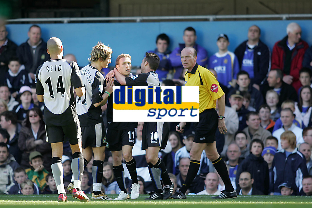 Photo: Lee Earle.<br /> Portsmouth v Blackburn Rovers. The Barclays Premiership. 08/04/2006. Blacburn's Craig Bellamy (11) is congratulated after scoring the opening goal.