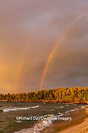 64795-03413 Lake Michigan shore at sunset and rainbow Alger Co. MI